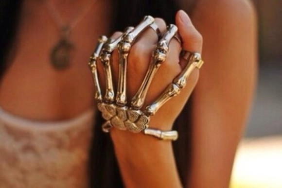 bones bone skeleton jewels skeleton hand silver ring bracelet goth gothic awesome