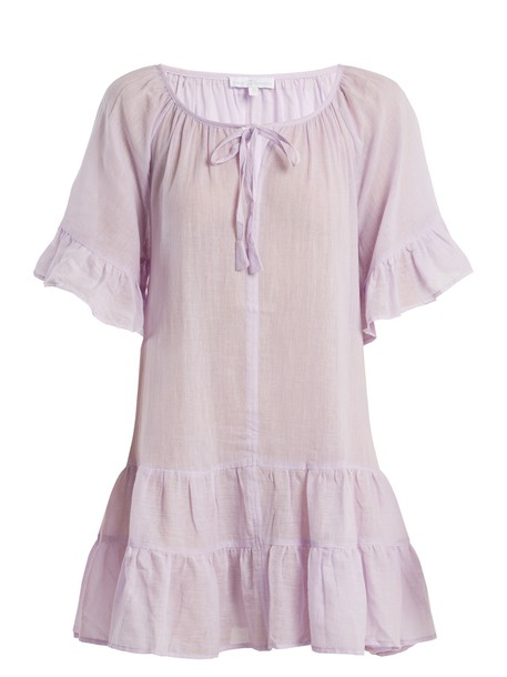 POUR LES FEMMES dress ruffle cotton light purple