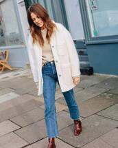 shoes,ankle boots,crocodile,jeans,white fur coat,sweater