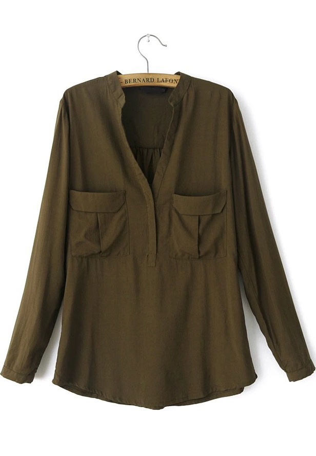 Army Green Long Sleeve Pockets Loose Blouse - Sheinside.com