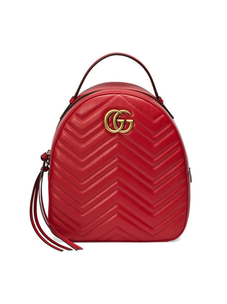 gucci women quilted backpack leather backpack leather red bag