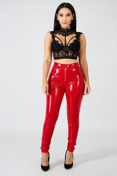 pants liquid pants latex pants skinny pants red vue boutique leggings