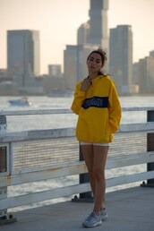 sweat the style,blogger,sweater,shorts,shoes,hoodie,yellow