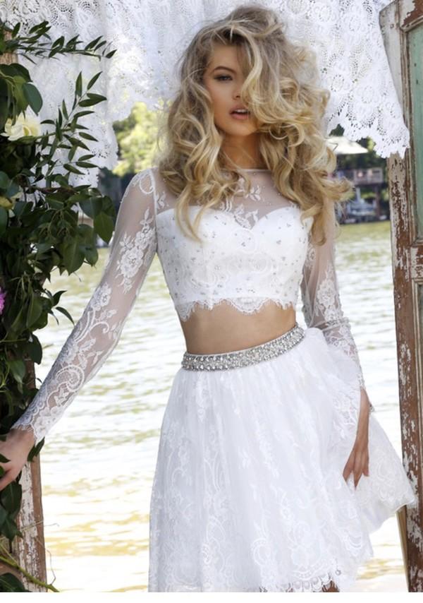 dress white top crop high waisted high waisted skirt all white everything hair blonde hair white skirt mini skirt long sleeves cropped turtleneck prom dress
