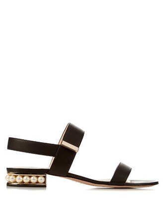 pearl sandals leather sandals leather black shoes