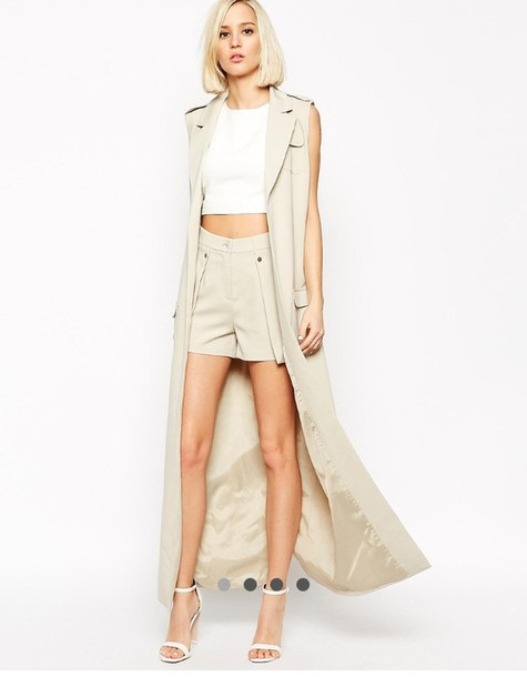 jumpsuit outfit shorts vest coat nude