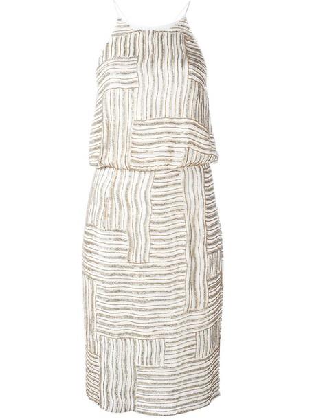 Diane Von Furstenberg dress sleeveless dress sleeveless women beaded nude silk