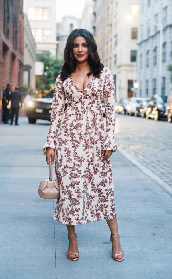 Dress Celebrity Style Midi Dress Floral Dress Celebrity Sandals Sandal Heels High Heel