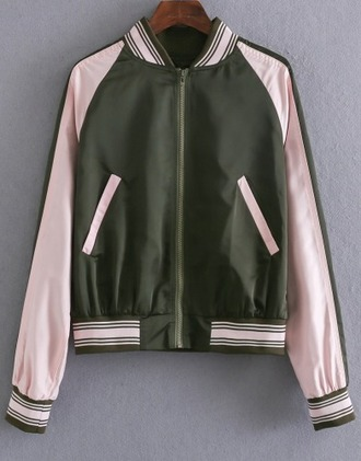 jacket girl girly girly wishlist bomber jacket pink olive green