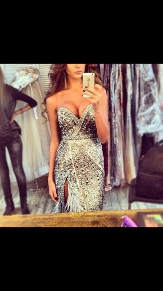 dress sparkly dress prom pageant feathers extravagant prom dress glitter prom dress beautiful ball gowns prom sparkle jewelry gold and silver prom dresss