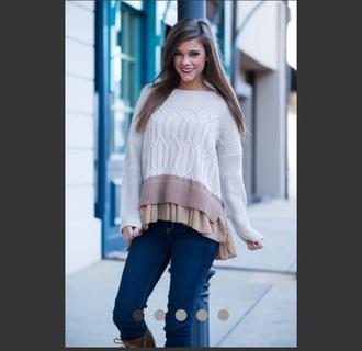 sweater ruffle taupe
