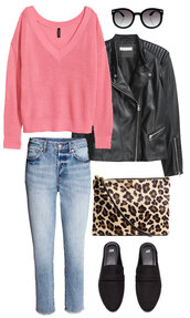 thebudgetbabe,blogger,sweater,jeans,shoes,jacket,sunglasses,bag,pink sweater,loafers,black leather jacket,leather jacket,clutch