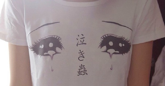 t-shirt t shirt top shirt white face tumblr cool pretty kawaii eyes indie crop tops