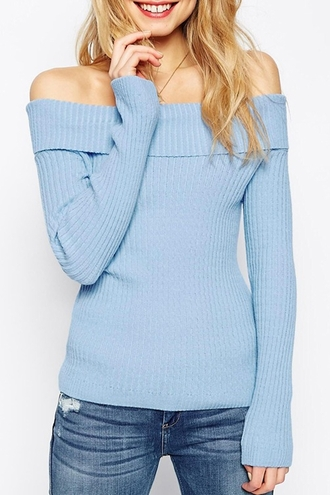 sweater blue cozy knitwear fall outfits winter outfits off the shoulder cute feminine casual girly long sleeves swag style fashion pastel