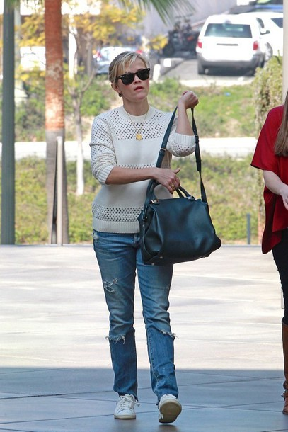 sweater reese witherspoon jeans ripped jeans sneakers