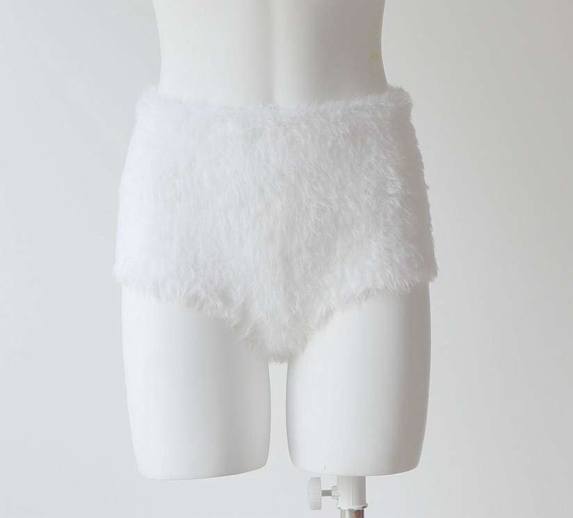 White swan hand knitted high waisted seamless shorts panties fur