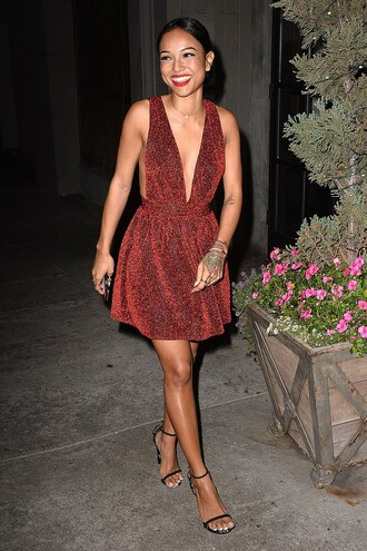 karrueche red dress sparkle sparkly dress party outfits holiday dress backless dress new year's eve