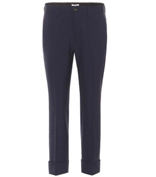 Miu Miu Wool-blend cropped trousers in blue