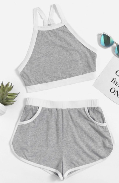 shorts girly grey white two-piece crop tops crop cropped