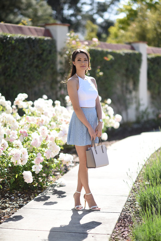 hapa time blogger jewels white top tank top grey skirt mini skirt sandal heels grey bag