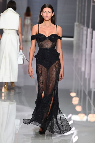 dress see through see through dress black dress black gown prom dress off the shoulder off the shoulder dress runway london fashion week 2017