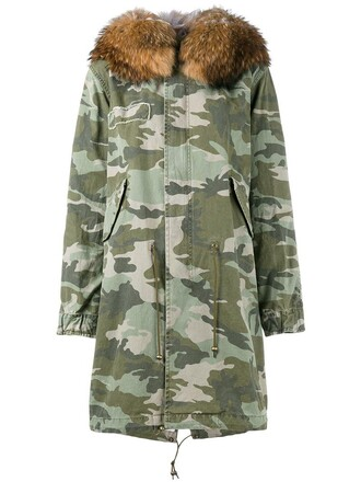 parka fur women camouflage cotton green coat