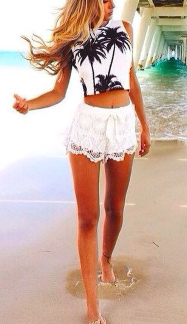 shorts mini shorts white shorts lace shorts white tank top white black floral summer beach sun tank top