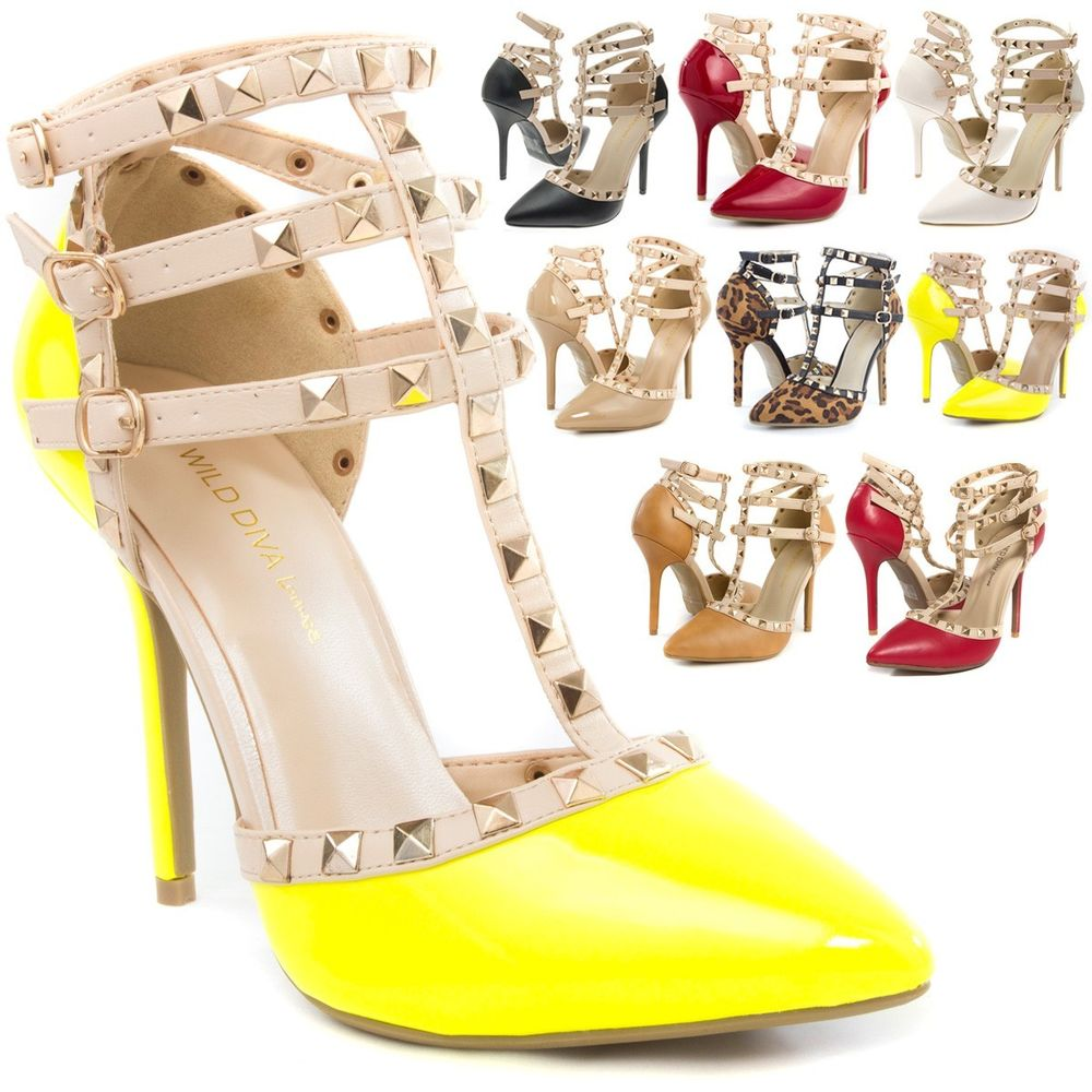 Studded Pointy Toe Ankle Strap Gladiator High Heel Stiletto Pumps ...