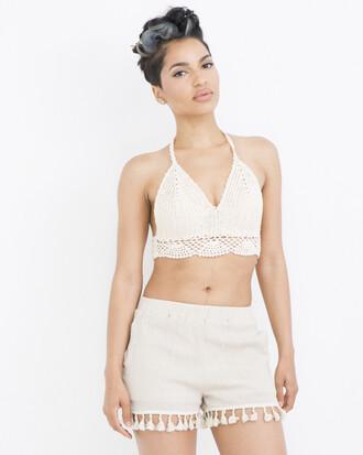 shorts fringe fringe shorts beige beige shorts