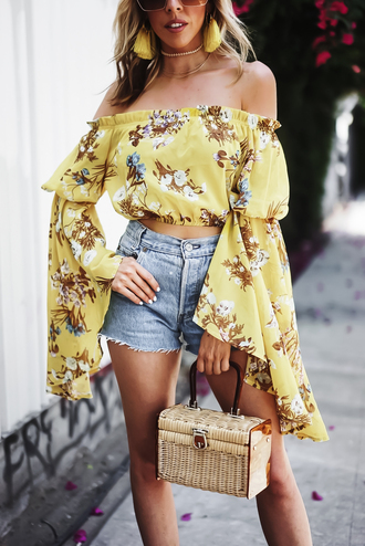 top tumblr off the shoulder off the shoulder top crop tops bell sleeves long sleeves bag basket bag shorts denim shorts