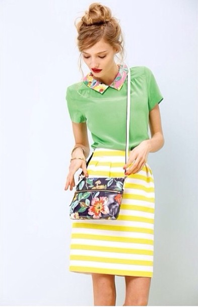 0e720b6555 blouse skirt yellow and white striped skirt yellow and white stripe skirt