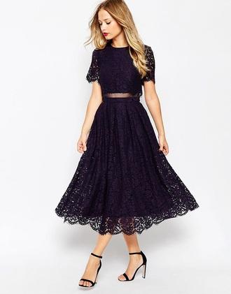 dress navy blue prom lace