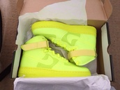 shoes,nike sneakers,nike,sneakers,yellow,neon,mid,highlighter yellow,neon yellow shoes,high top sneakers,neon yellow