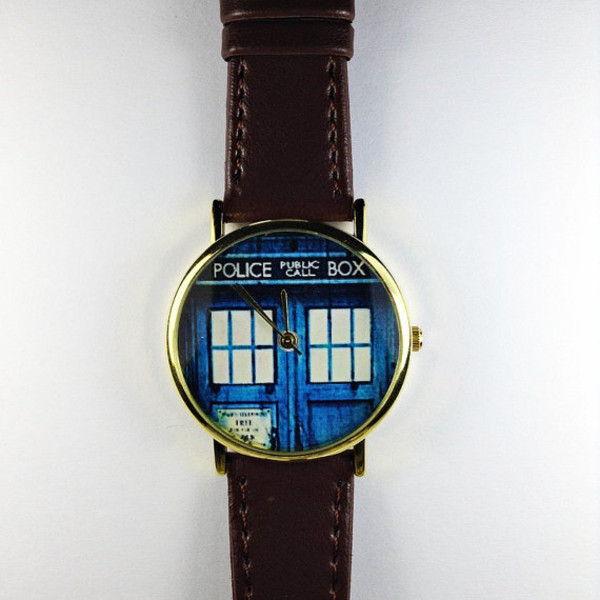 jewels watch watch vintage style retro doctor who leather watch fashion style call box frantic jewelry hair accessory