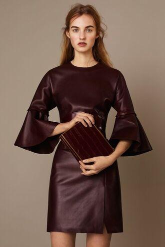 lady addict blogger burgundy dress long sleeve dress leather dress clutch