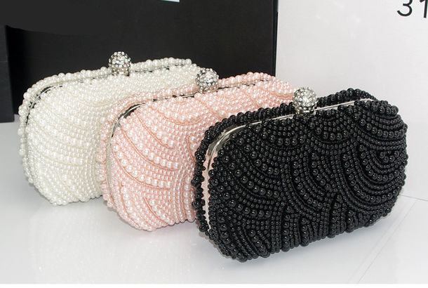Bag: evening bag, pearl, pearl, wedding clutch, evening clutch ...