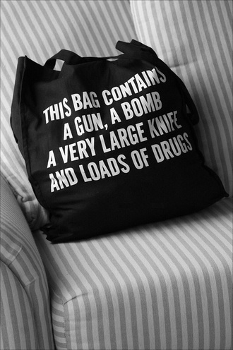 bag black black bag quote on it graphic bag