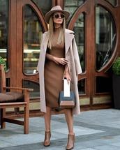 dress,midi dress,knitted dress,slim dress,booties,handbag,coat,long coat,wool coat,hat,round sunglasses