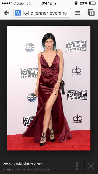 dress kylie jenner burgundy prom dress prom gown red silk dress