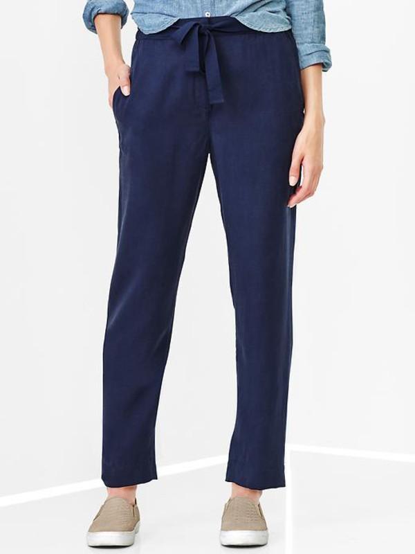 gap drapey tencel pants military blue womens casual pants 981428004
