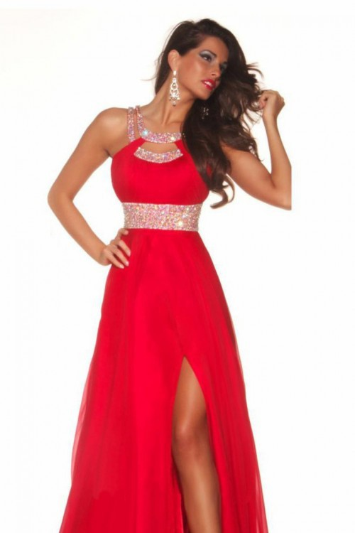 Aliexpress.com : Buy Free Shipping 2014 New Arrival Prom Dresses A Line Scoop Sweep Train Chiffon Red Evening Dresses With Slit from Reliable chiffon coat suppliers on Chaozhou City Xin Aojia dress Factory
