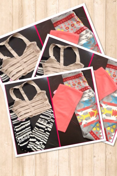 leggings summer outfits tribal pattern cute tumblr hot pants bralette crop tops tank top tube top spring fashion top boutique shopping clothes shirt bustier aztec leggings aztec hipster tribal leggings
