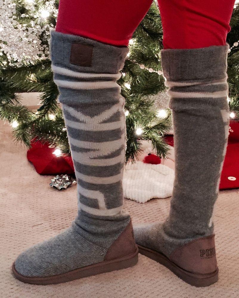 Victoria's secret love pink sweater knit sock slippers mukluks boots m 7/8 ��