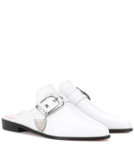 slippers leather white shoes