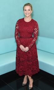 dress,burgundy,burgundy dress,lace,pumps,reese witherspoon,midi dress