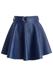 chicwish,belted faux leather skirt,navy mini skirt,fashion and chic