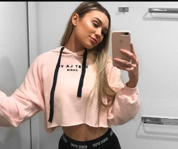sweater girly pink hoodie crop cropped cropped sweater cest c'est l.a