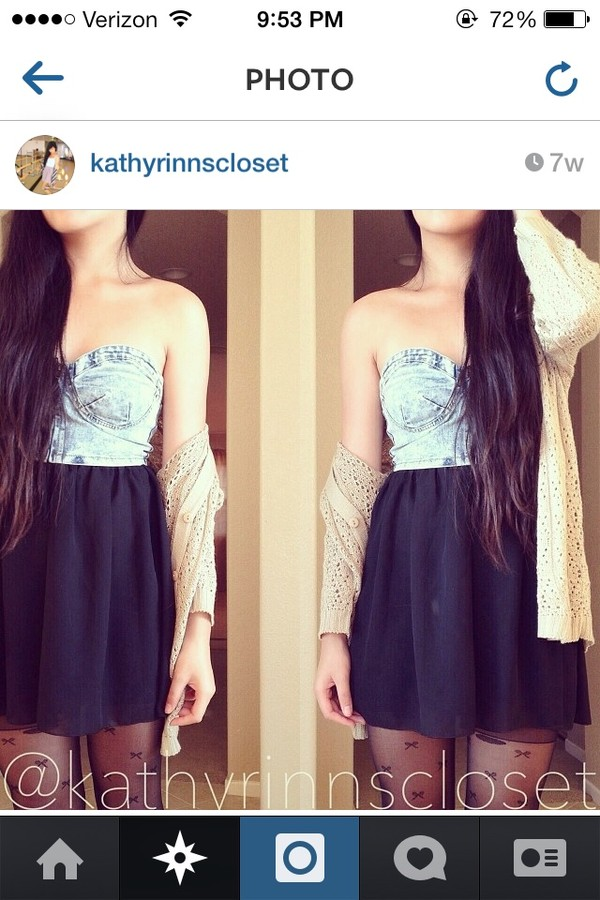 sweater cream cardigan denim bustier black chiffon skirt blouse tank top