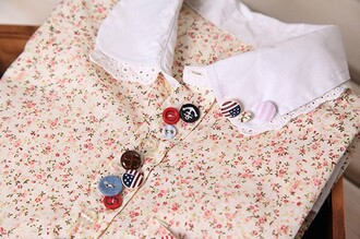 blouse collar shirt floral button up buttons mori
