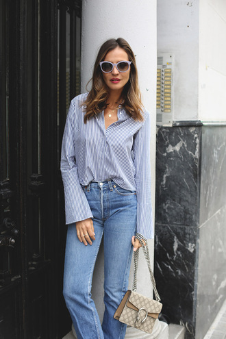 lady addict blogger blue sunglasses bell sleeves striped shirt dionysus gucci bag designer bag straight jeans bell sleeve top